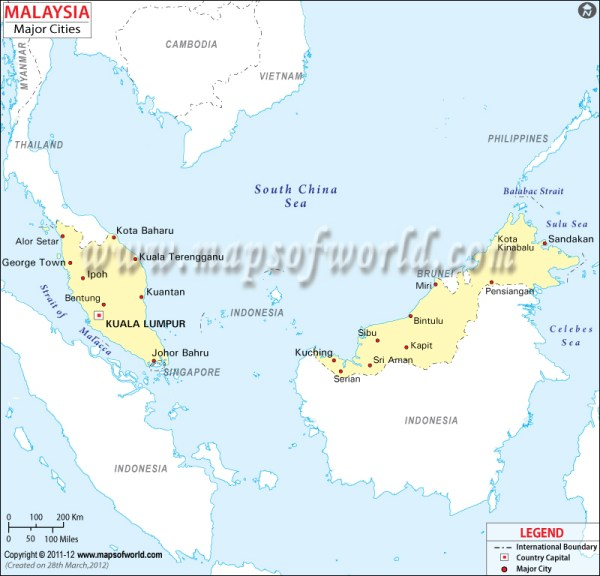 Malaysia Cities Map Major Cities in Malaysia
