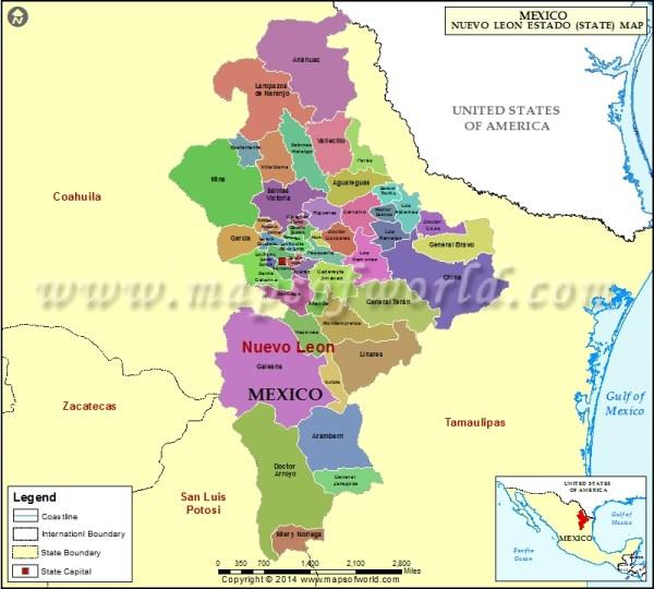 Nuevo Leon Map Nuevo Leon Mexico