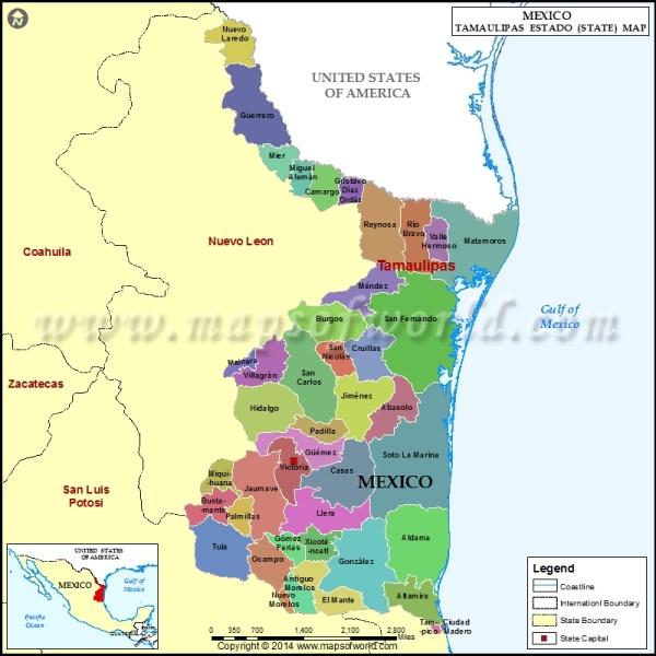 Tamaulipas Map Tamaulipas Mexico