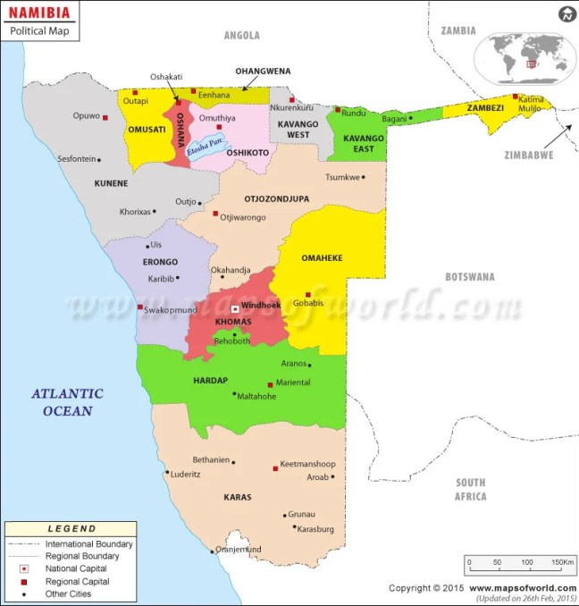 Political map of Namibia | Namibia Regions Map
