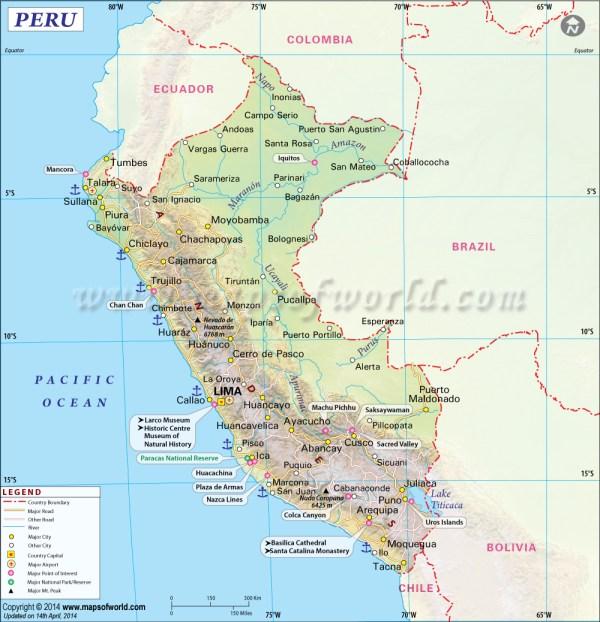 Peru Map Map of Peru