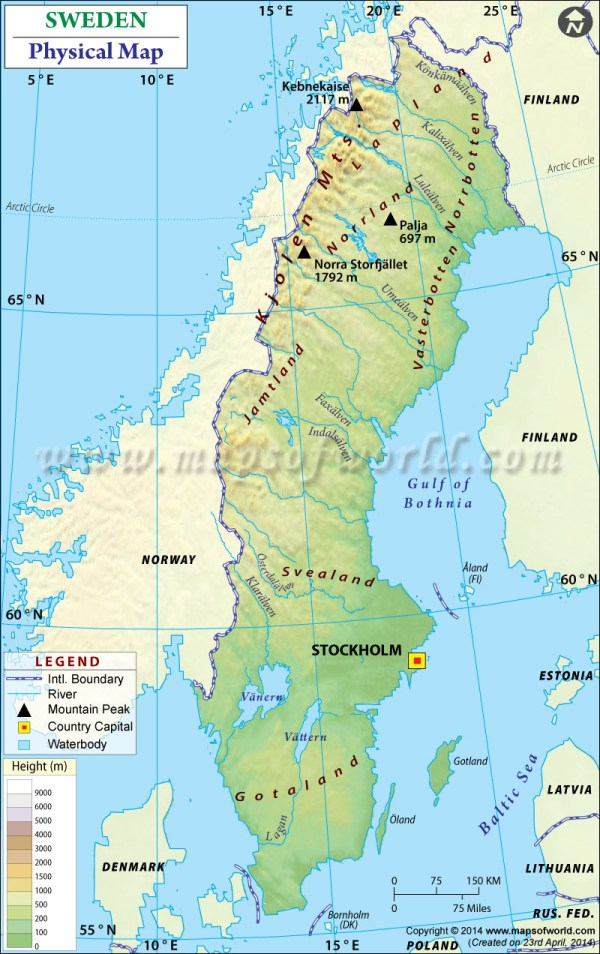 Physical Map of Sweden