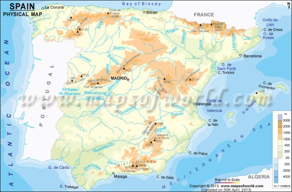 Spain Physical Map Physical Map of Spain