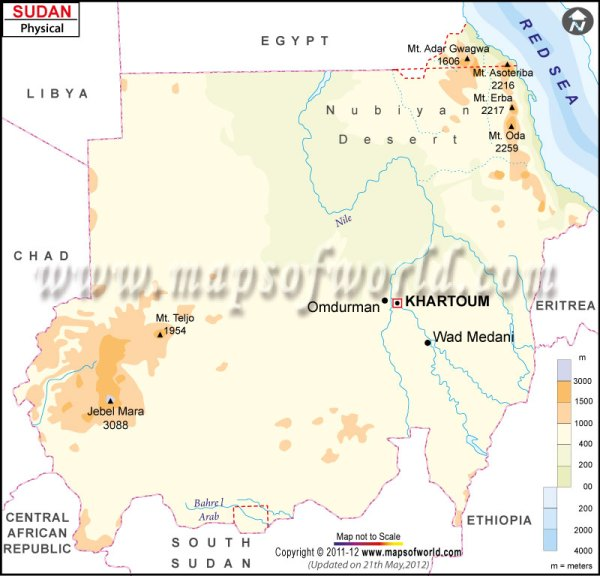 Sudan Physical Map Physical Map of Sudan