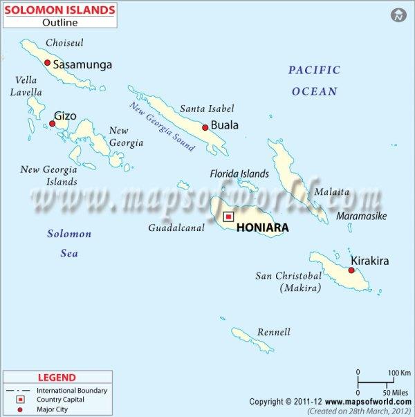 Solomon Cities Map Major Cities in Solomon