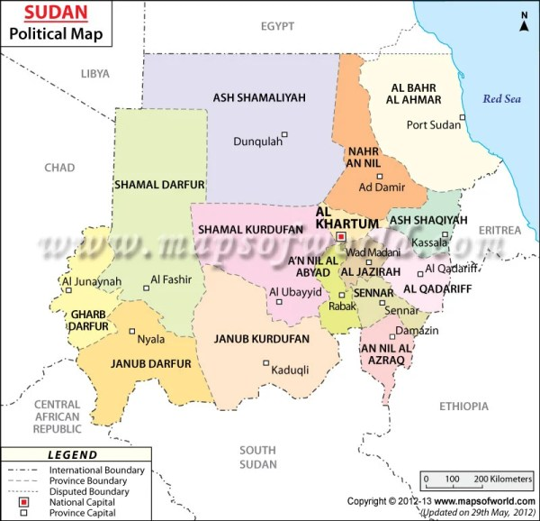 Political Map of Sudan Sudan States Map