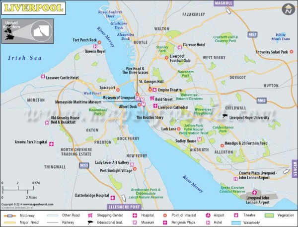 Liverpool Map Map of Liverpool City UK