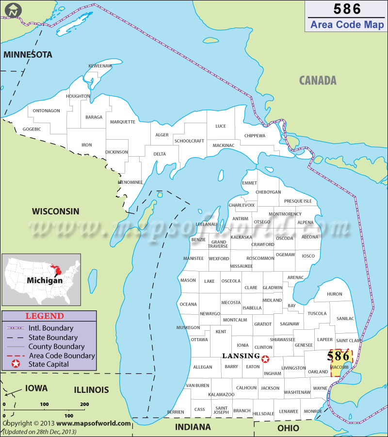 586 Area Code Map Where Is 586 Area Code In Michigan