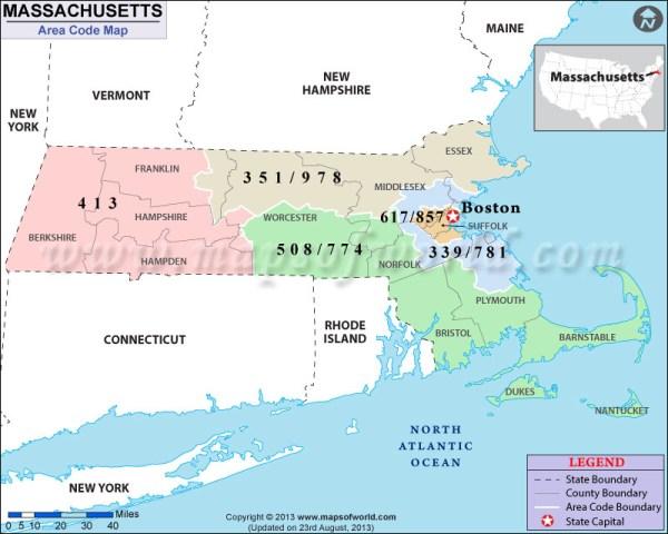 Massachusetts Area Codes Map of Massachusetts Area Codes