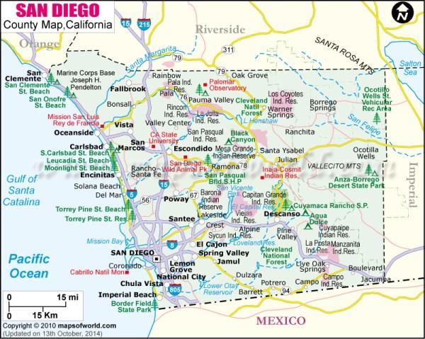 San Diego County Map Map of San Diego County California