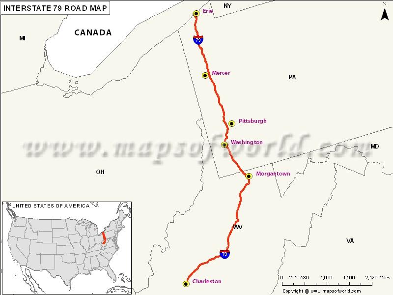 US Interstate 79 Map