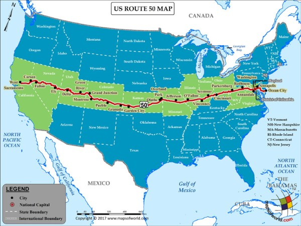 US Route 50 Map for Road Trip Highway 50