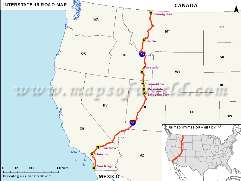 Use this resource to help plan your next visit to the west coast. Interstate 15 I 15 Map Usa San Diego To Sweetgrass Montana