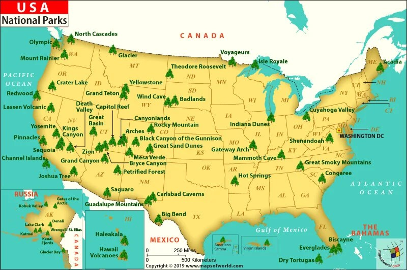 American National Parks Map