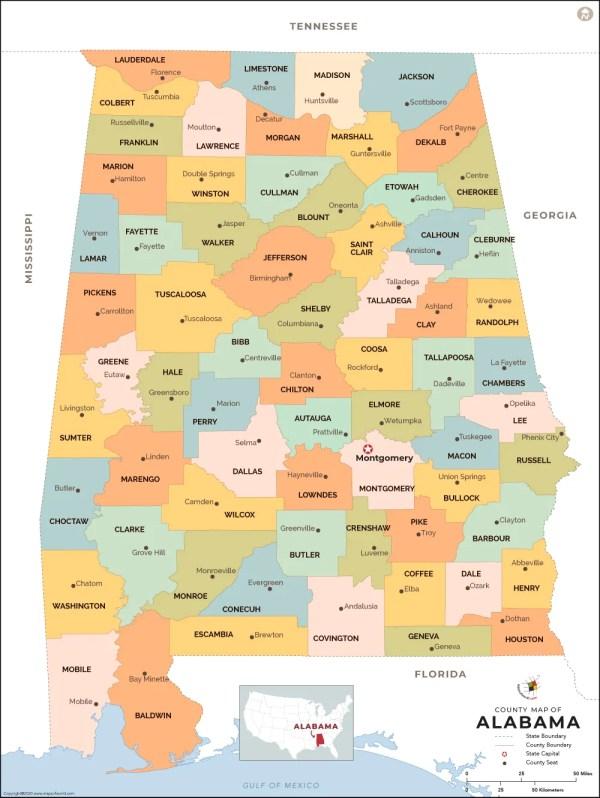 Alabama County Map Alabama Counties