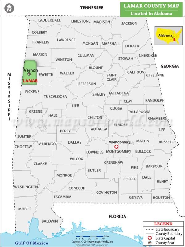 Lamar County Map Alabama
