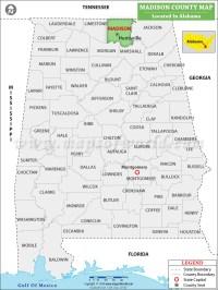 Madison County Map, Alabama