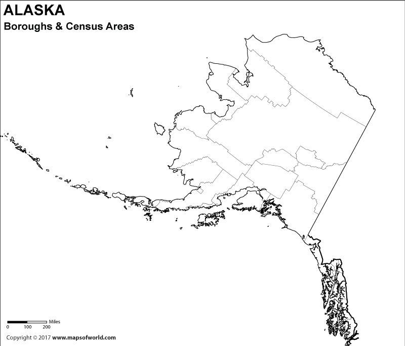 Blank Alaska Borough Map for Kids to Color