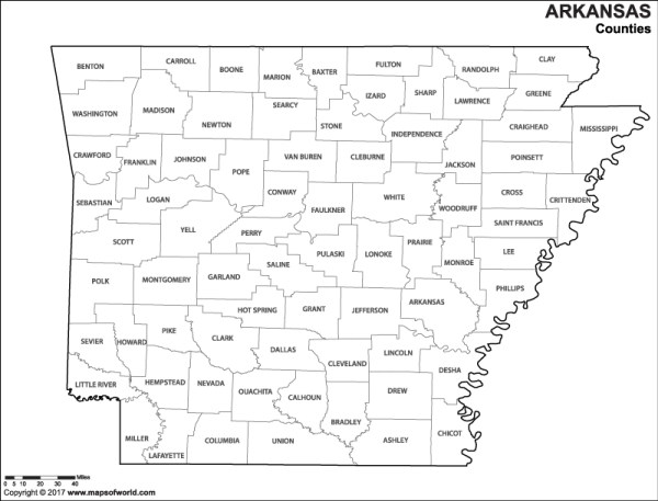 Black and White Arkansas County Map for Kids to Color