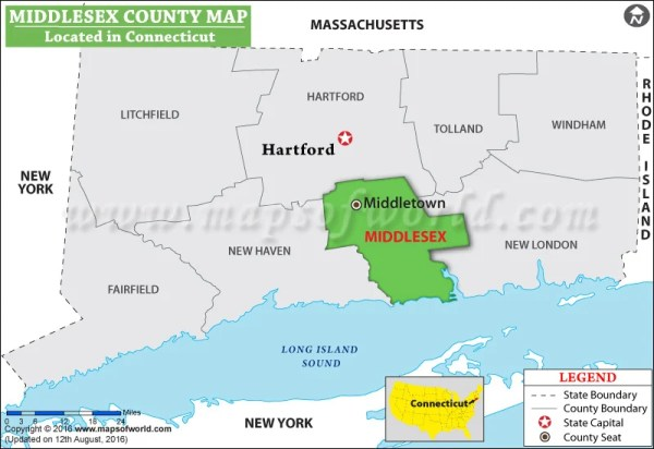 Middlesex County Map Connecticut