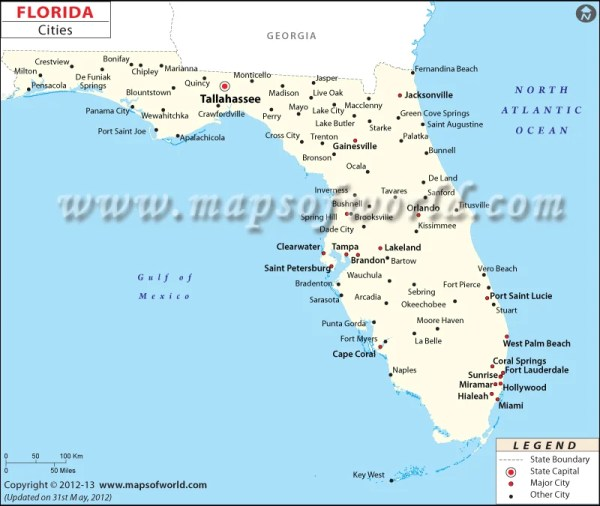Cities in Florida Florida Cities FL Map with Cities