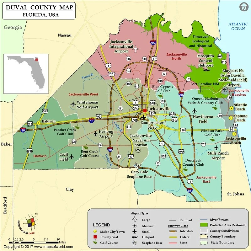 Duval County Zip Code Map