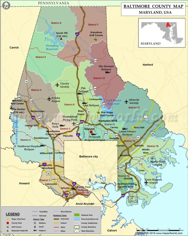 Baltimore County Map Maryland