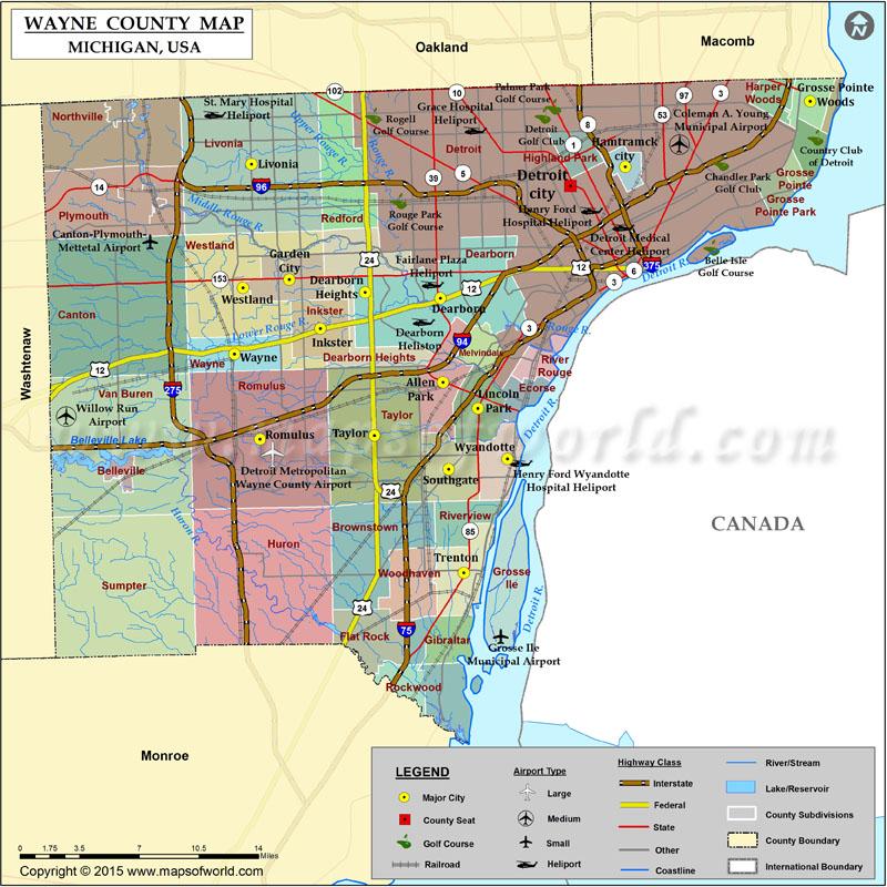 Wayne County Map Michigan