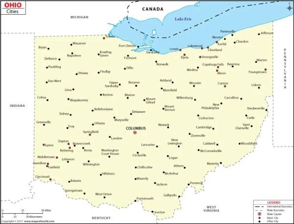 Cities in Ohio Ohio Cities Map
