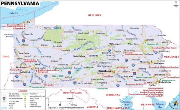 Pennsylvania Map Map of Pennsylvania PA