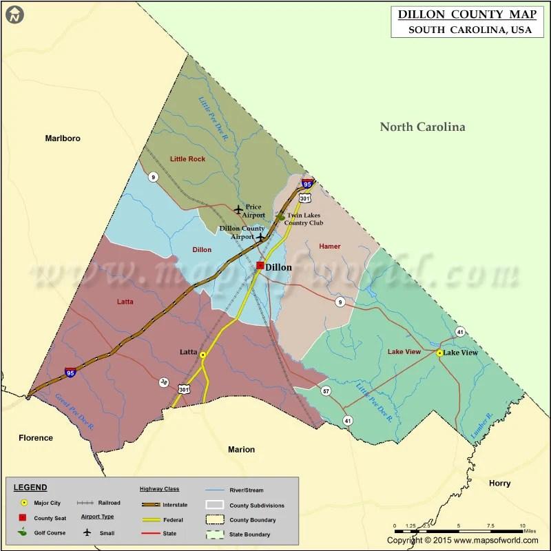Dillon County Map South Carolina
