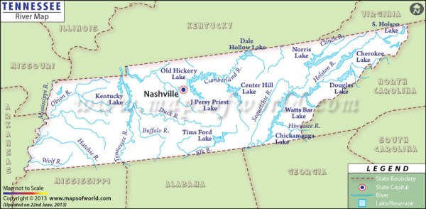 Tennessee Rivers Map Rivers in Tennessee