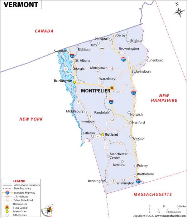 Vermont Map Map of Vermont USA VT Map