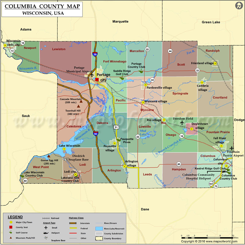 Columbia County Map Wisconsin
