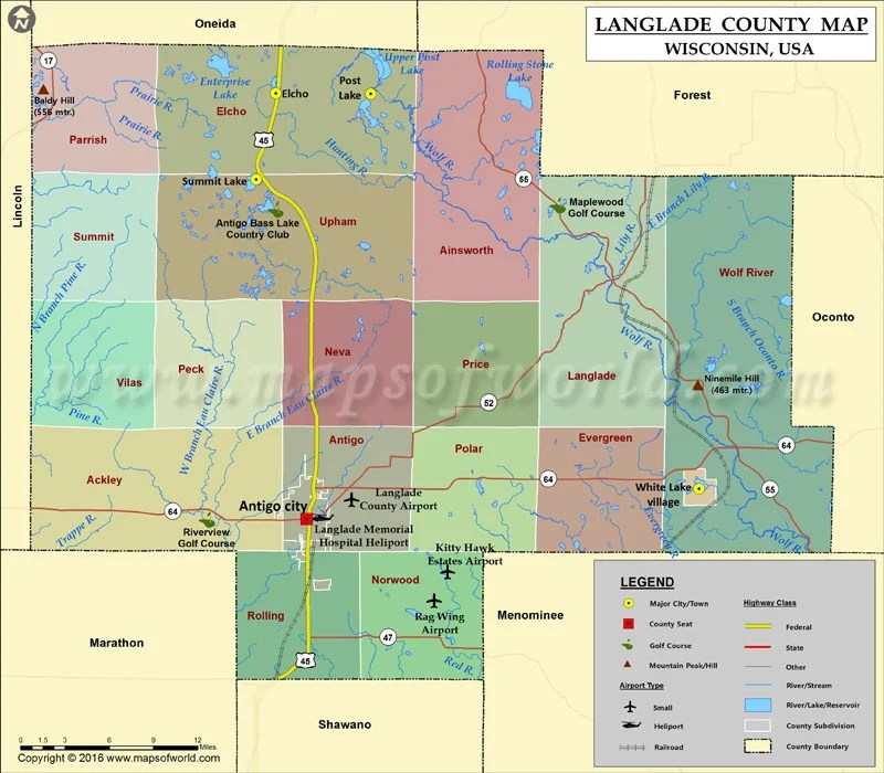 Langlade County Map Wisconsin