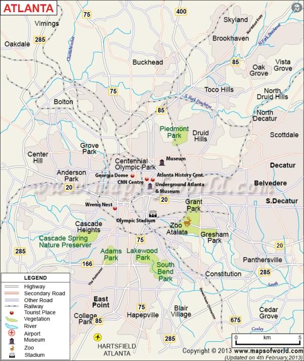Atlanta Map The Capital of Georgia Atlanta Georgia Map