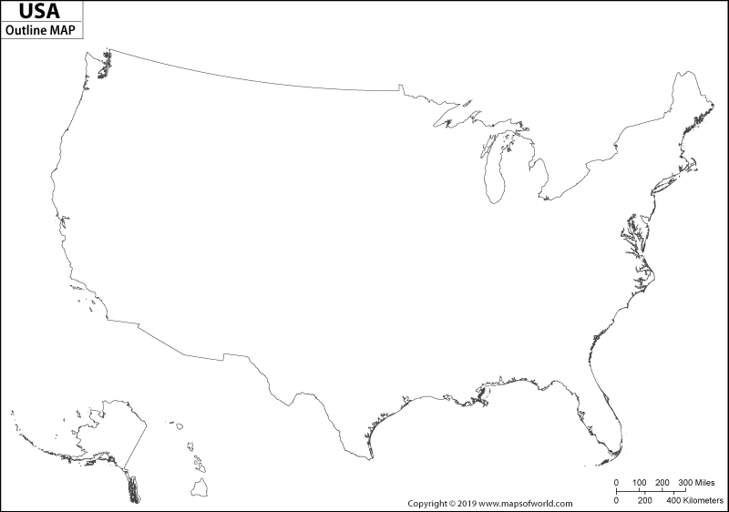 Blank Map of USA, US Blank Map, USA Outline Map