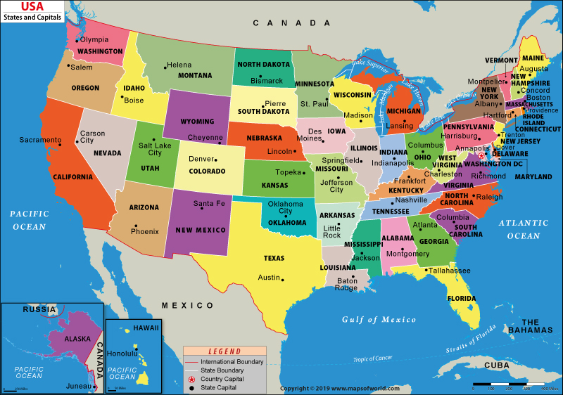 united states map with