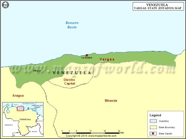 Vargas Map Map of Vargas State Estado Venezuela