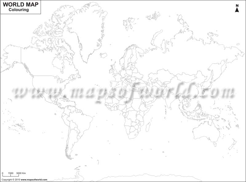 Blank World Map, World Map Outline for Coloring