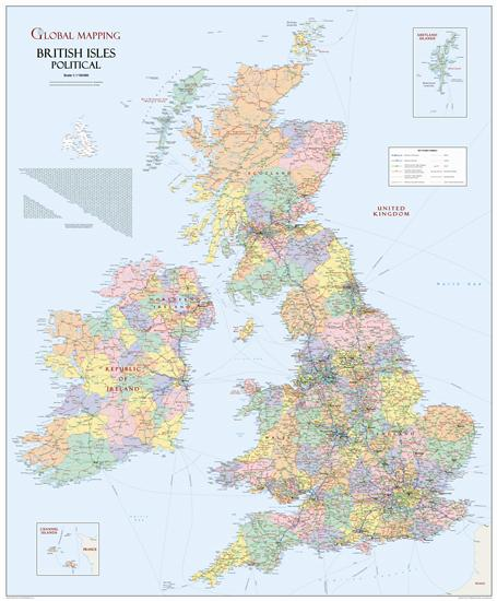 British Isles Political Wall Map Large Global Mapping