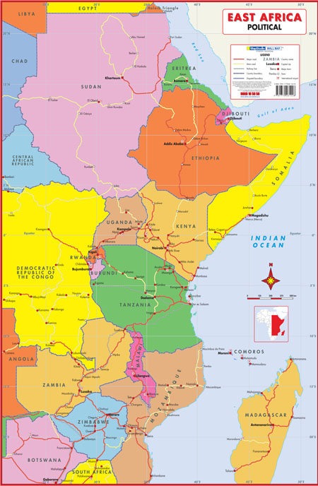 Map Of Africa Political.East Africa Political Wall Map Mapstudio