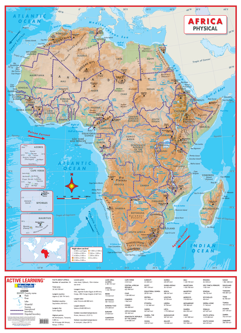 Africa Physical Wall Map A Comprehensive Physical Map Of Africa - Map of africa physical