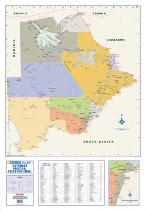 Botswana Political Executive Small Wall Map