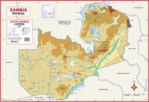Zambia Physical Wall Map