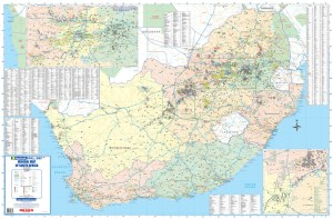 South Africa Mining, Minerals Wall Map