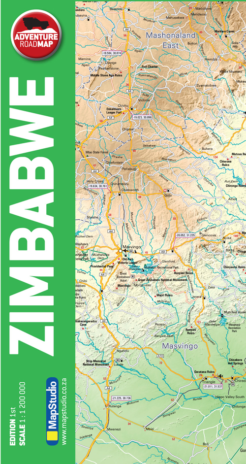 Zimbabwe Adventure Road Map -MapStudio