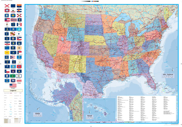 Map Of Usa Political.Usa Political Globetrotter Map Mapstudio