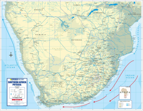 Southern Africa Physical Wall Map Active Learning