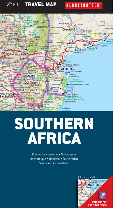 Southern Africa Travel Map -catered for the needs of tourists - MapStudio